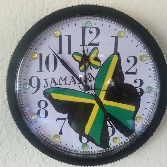 Jamaican Wall Clock 9.68 IN Hand Drawn Hand Painted