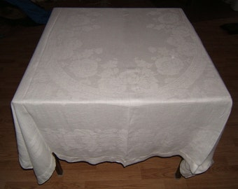 78x57 Vintage Antique White Irish Linen Double Damask Tablecloth 075