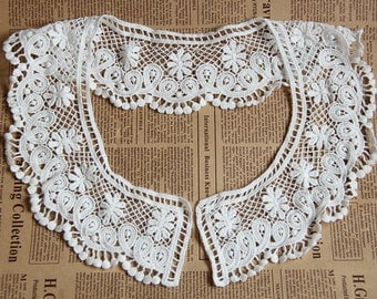 Venice White Lace Appliques Cotton Embroidery Hollowed Out Trim Collar Flower 1pcs L0147