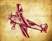 Vintage Biplane Airplane Clipart Lineart Illustration Instant Download PNG JPG Digi Line Art Image Drawing L021