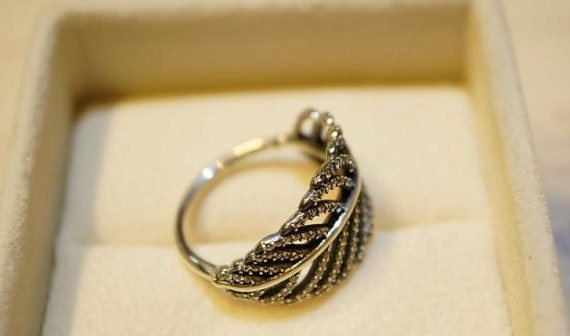 Pandora Ring 925 silver LIGHT AS A FEATHER crystal pave
