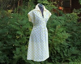 1950's Sunshine Yellow with White Polka Dot Cotton Sundress / Dress