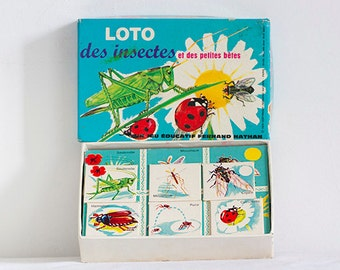 Vintage French Domino, Loto, Illustrated Game, educational game, matching  game, Children Game, Retro Illustration, Fernand Nathan