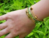 Gold and Green Hamsa Stretch Bracelet Set - Hamsa Bracelet - Bracelet Set - Green Bracelet - Gold Bracelet -  Stretch Bracelet