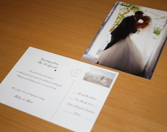 100x Personalised wedding Thank You photograph postcards