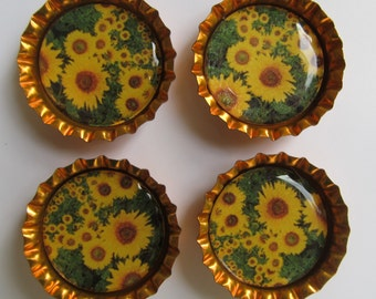 Sunflower Bottlecap Magnets - Set of 4