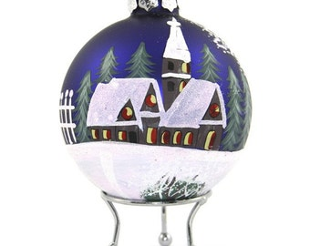 Blue Handpainted Glass Christmas Village Bauble
