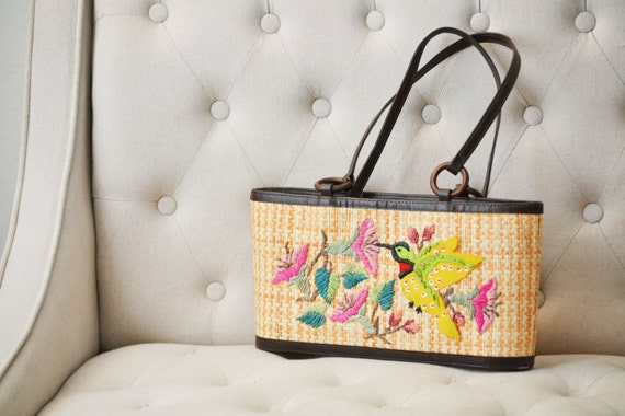 Vintage 1950s Raffia Straw Purse Handbag Embroidered with Hummingbird and Flowers Retro