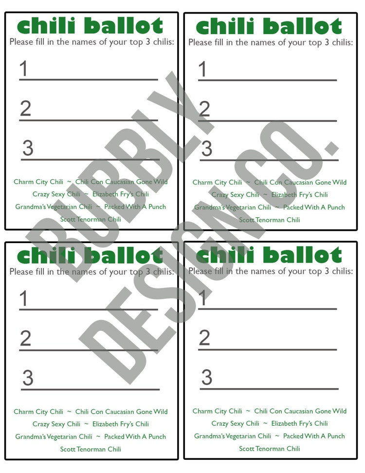 Chili Cook-Off Party Ballot // Chili Cook Off by ...
