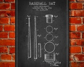 1926 Baseball Bat Patent, Canvas Print,  Wall Art, Home Decor, Gift Idea
