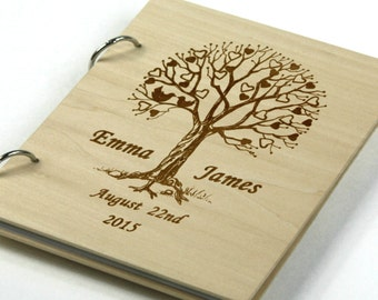 Unique personalized Wedding-Anniversary-Bridal shower guest book/gift, Memory album, Laser engraved, Rustic theme, Wedding decor.