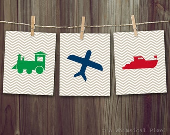 Chevron Transport - Train Airplane Boat - Children's Wall Art Prints 8x10 or 5x7 inches - buy a single or set of all 3