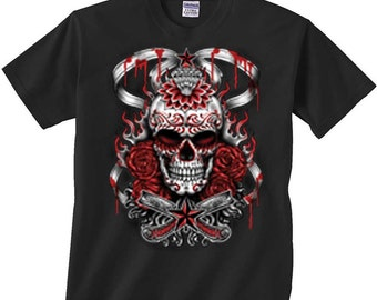 Sugar Skull Shirt Day of the Dead T-Shirt Demonized with Roses Flames Blood Drip FREE SHIPPING in usa