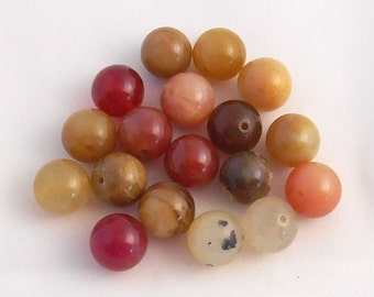 Twelve 12mm Rainbow Soocho Jade smooth, round beads, earth tone beads, semiprecious gemstone beads C93212