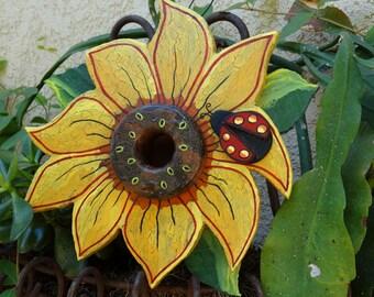 Sunflower Bird Abode - Painted Handmade Wooden Bird House