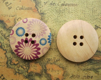 5Pcs 28mm Wooden Buttons Flower Design Assortment Wood Buttons FF