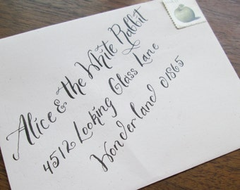 Calligraphy Wedding Envelope Addressing--Alice Font