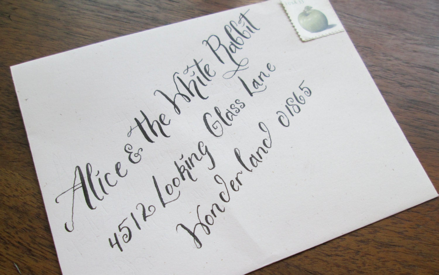 Calligraphy Wedding Envelope Addressing Alice Font From