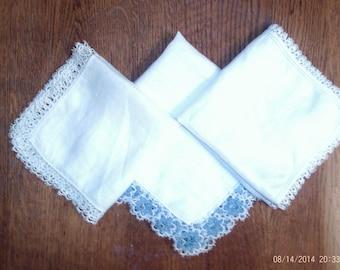 3 Handmade Tatted Handkerchiefs