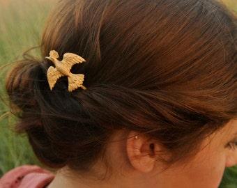 Gold Bird Bobby Pin Pheasant Hair Pin Bird Hair Clip Woodland Hair Clip