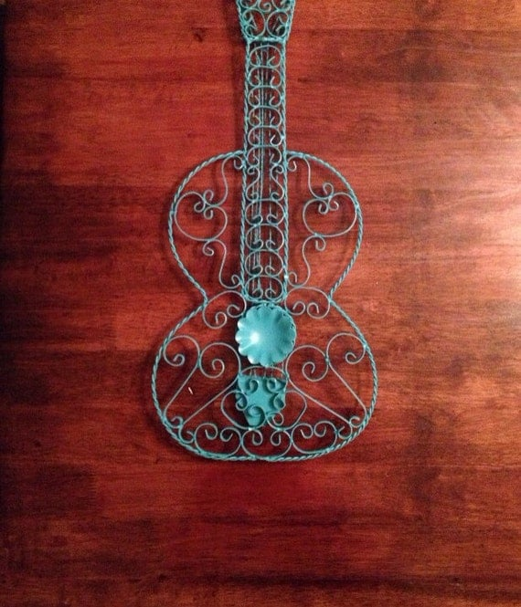 Turquoise Shabby Chic Bedrooms: Turquoise Metal Guitar Rockabilly Wall Decor Shabby Chic
