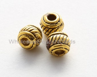 25 Antiqued Gold Tibetan Style Metal SPACER Round Barrel Beads -5x5mm w 1.5mm Hole - Nickel Free -European Beads Boho - INSTANT Ship - 0162A