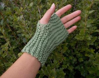 Handknit Fingerless Basil Mitts