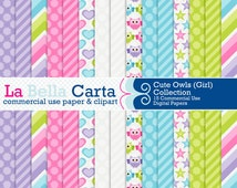 Cute Owls (Girl) patterned digital papers for scrapbooking, card making, invitations & party printables. Small Business CU OK