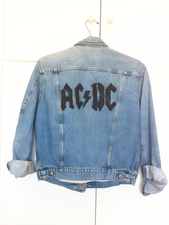 denim jacke acdc logo schablone artwork. Black Bedroom Furniture Sets. Home Design Ideas