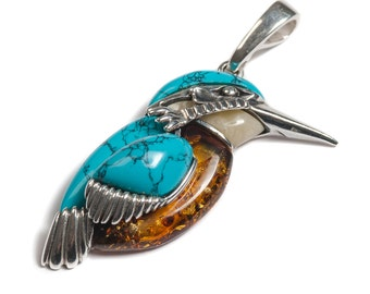 Henryka Amber, Silver & Turquoise Large Kingfisher Bird Pendant with Silver Chain