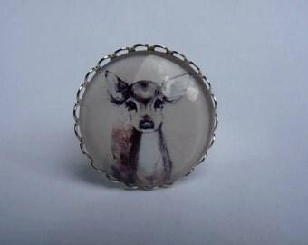 Adjustable ring cabochon 25mm kawaii deer