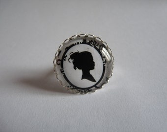Adjustable ring cabochon 25mm portrait