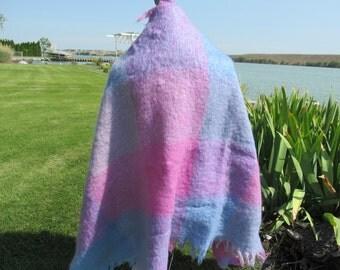 Wrap - Luxurious Blue and Violet Irish Mohair Throw / Shawl. 3 feet x 5 feet