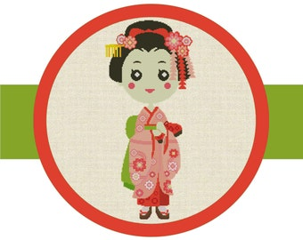 Cross Stitch Pattern Chart, Japanese Girl with Kimono