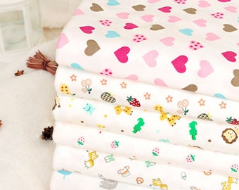 Wide Cotton Knit Fabric, Baby Fabric, Baby Cotton, Stretch Fabric, Animals- 1/2 yard