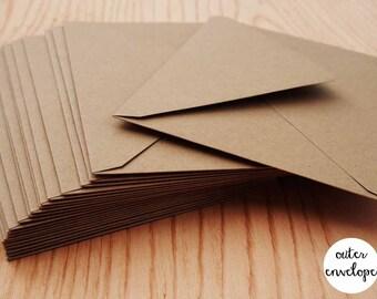 """20 Outer Envelopes  - Wedding Outer Envelope - Kraft Paper Brown Outer Envlopes - 5 1/2""""x7 1/2"""""""
