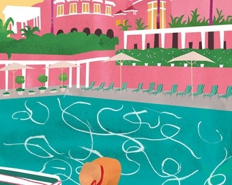 Famous hotels, Beverly Hills Hotel. Limited edition print.