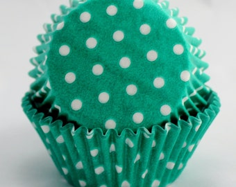 Teal Polka Dot Cupcake Papers