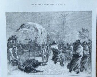 Vintage Print from The Illustrated London News, Jan 29 1881 - Fleet Street During the Snowstorm on Tuesday Night, January 18