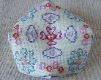 Spring Floral Biscornu Counted Cross Stitch Chart with making up Instructions in English and French