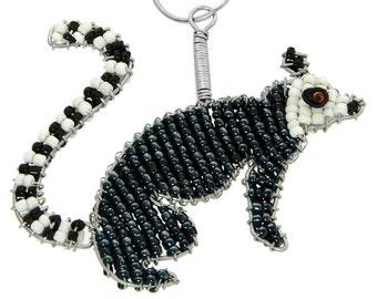 Beaded Lemur Keychain or Zipper Pull - African beaded animal keyring