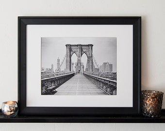 Vintage Black and White Photography Fine Art Print, Brooklyn Bridge
