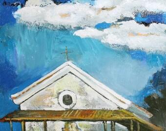 1999 European art oil painting impressionism chapel signed
