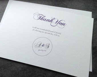Scripted Stamp Thank you Wedding Cards with purple and grey bespoke initials