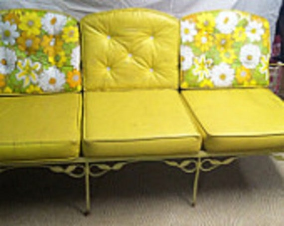 Retro Yellow Wrought Iron Garden Furniture With Original