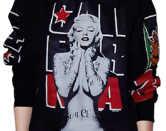 Cute Cali Pullover Sweater Hoodie,Marilyn Monroe with California Republic Arms
