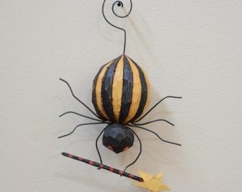 Spellbound Spider, Primitive Folk Art Halloween Ornament