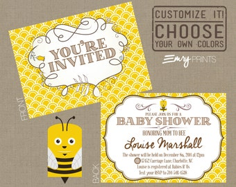 Bee Baby Shower Invitation / Bumble Bee Baby Shower Invitation / Yellow Baby Shower Invitation