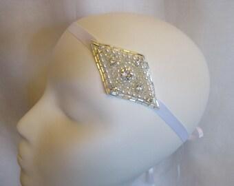 Rhinestone Pearl Wedding, Bridal, Head band, Hair Accessory, Head Pieces on Satin Ribbon