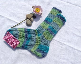 Cotton socks size 29 / 30 / 31 blue turquoise Green